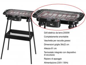 BBQ ELETTRICO GRIGLIA 38X22 2000W-80032