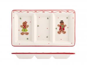 H&h Gingerbread Piatto 3 Posti, Ceramica, 17x30cm