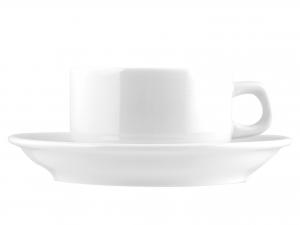 6 Tazze Colazione Con Piatto In Porcellana Hel Bianco 250 Kh