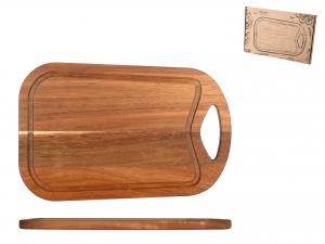 H&h Tagliere Acacia Rettangolare, Con Bordo, 36x24cm