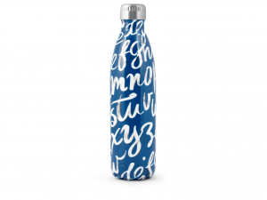H&h Bottiglia Termica Inox 18/10, Decoro Blu, Lt 0,75
