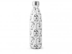 H&h Bottiglia Termica Inox 18/10, Decoro Bianco E Nero, Lt 0