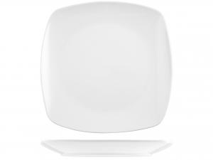 3 Piatti In Porcellana Bianco Quadrata Cm32     3041