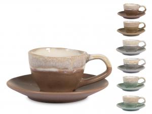 H&h Malika Set 6 Tazzine Caffè Con Piattino, Stoneware, Colo