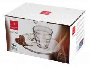 Confezione 6 Tazze In Vetro Con Piatto Cube Cl10