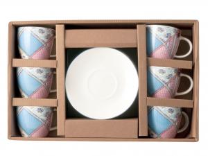 Set 6 Tazzine Con Piattino In New Bone China, 130 Ml, Decora