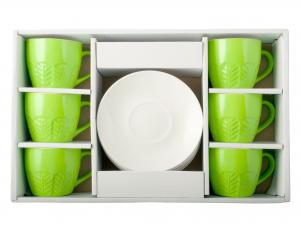 H&h Confezione 6 Tazzine Caffè New Bone China Con Piatto Ver
