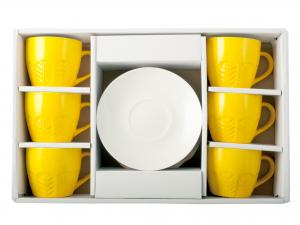 H&h Confezione 6 Tazzine Caffè New Bone China Con Piatto Gia