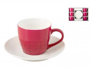 H&h Confezione 6 Tazzine Caffè New Bone China Con Piatto Fuc