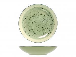 6 Piatti In Stoneware Mimosa Verde Fondo 22