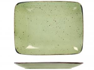 6 Piatti In Stoneware Mimosa Verde Rettangolare 29x23
