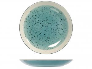 6 Piatti In Stoneware Mimosa Azzurro Piano 26,5