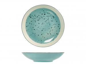 6 Piatti In Stoneware Mimosa Azzurro Fondo Cm22