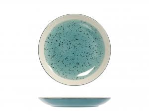 6 Piatti In Stoneware Mimosa Azzurro Frutta 20,5
