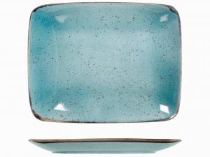 6 Piatti In Stoneware Mimosa Azzurro Rettangolare 29x23