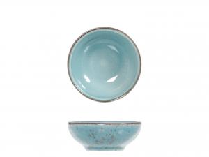 6 Coppette In Stoneware Mimosa Azzurro Cm 8