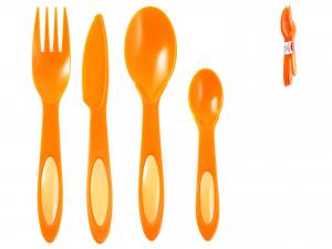 Set 4 Posate Polipropilene Home Dualc/arancio