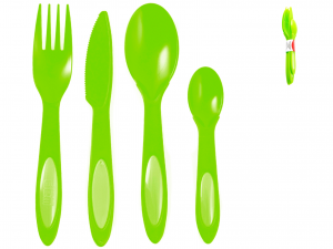 Set 4 Posate Polipropilene Home Dualc/verde M