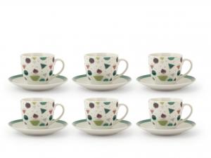 Confezione 6 Caffe'pcl Decoro Assortiti Con Piatto Cc90 183