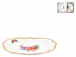 Centrotavola Porcellana Decoro Fiori 19x30xh3