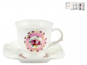Confezione 6 Tazze Caffe'pcl Decoro Fiori Rosa Con Piatto