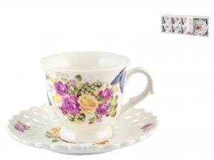 Confezione 6 Tazze Caffe'pcl Decoro Rose Con Piatto