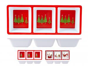 Antipastiera In Melamina Natale 3 Posti 15x37  5255