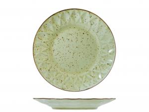 6 Piatti In Stoneware Dalia Verde Frutta 22,5