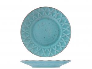 6 Piatti In Stoneware Dalia Azzurro Frutta22,5