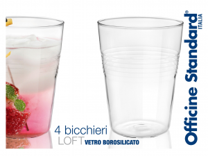 Confezione 4 Bicchieri In Borosilicato Conica Loft Cl43