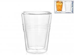 Confezione 2 Bicchieri In Borosilicato Doppio Duplex Cl23