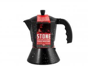 Caffettiera In Alluminio Induzione Decoro Stone 3 Tazze