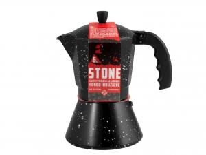 Caffettiera In Alluminio Induzione Decoro Stone 6 Tazze