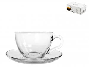Confezione 6 Caffe' Con Piatto In Vetro Basic   97984 L