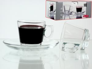 Confezione 6 Caffe' Con Piatto In Vetro Vela   97301  L