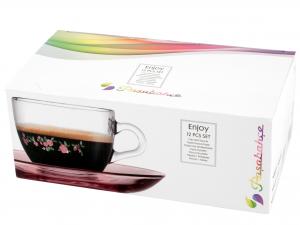 Confezione 6 Caffe' In Vetro Con Piatto Spring 8,5 97984