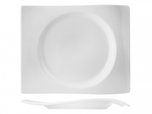 Piatto Rettangolare In Porcellana, 35x27 Cm, Bianco