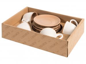 H&h Cinnamon Set 4 Tazze Caffe', New Bone China, Con Piattin