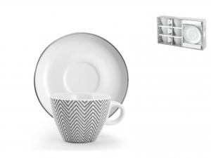 H&h Confezione 6 Tazzine Caffè Porcellana Tissue Con Piattin