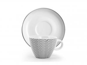 H&h Confezione 4 Tazze Tè Porcellana Tissue Con Piattini Cc2