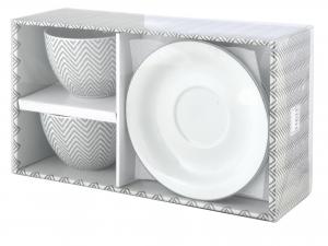 H&h Confezione 2 Tazze Jumbo Porcellana Tissue Con Piattini