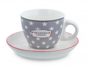 H&h Confezione 6 Tazzine Caffè New Bone China Brasserie Con