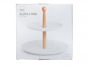 Alzata Porcellana Bianco 2 Piani Cm21/27,5   Ckc28p