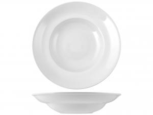 Piatto Pasta Porcellana Bianco Bombato Cm30