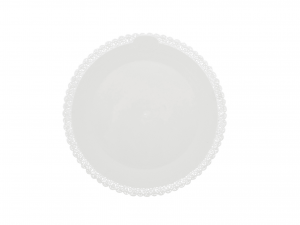 3 Vassoi Trinati Bianco Tondo Cm28 043a