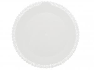 3 Vassoi Trinati Bianco Tondo Cm42 049a