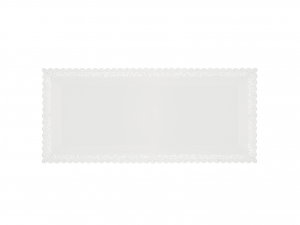 3 Vassoi Trinati Bianco Rettangolare 30x13 056a