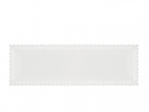3 Vassoi Trinati Bianco Rettangolare 40x13 061a
