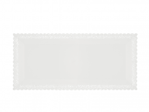 3 Vassoi Trinati Bianco Rettangolare 36x16 058a