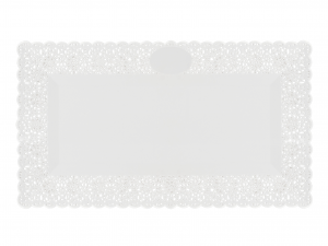 3 Vassoi Trinati Bianco Rettangolare 45x26 053a